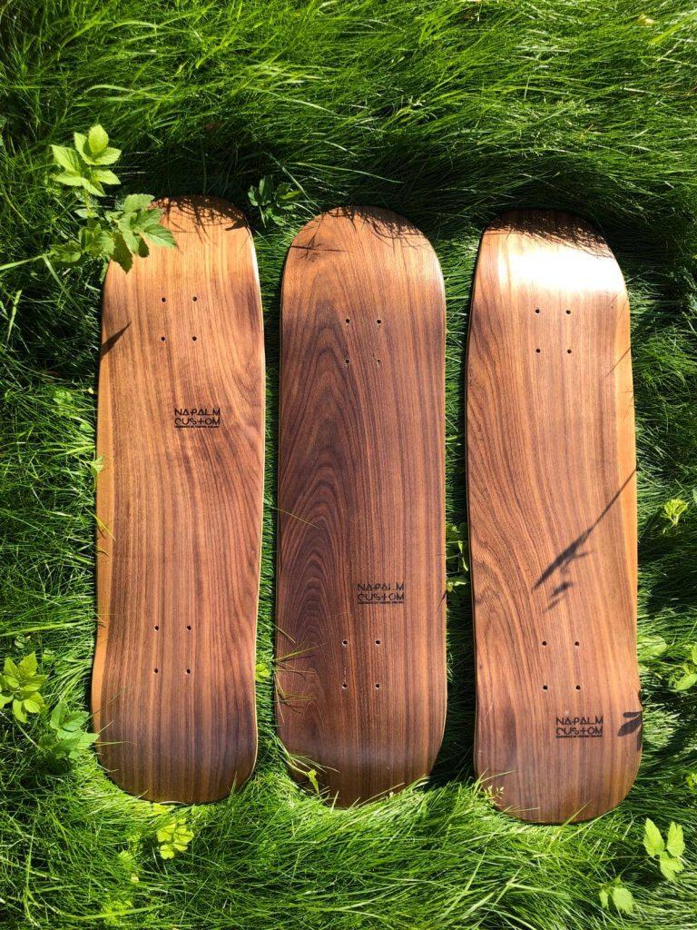 Natural dark wood decks