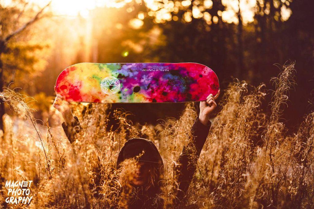 Napalm custom skateboard on field
